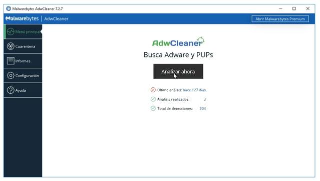 Busca Adware y PUPs con AdwCleaner.
