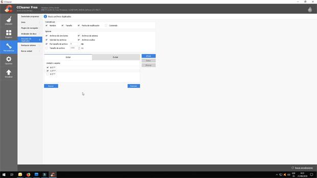 Buscador de archivos duplicados de CCleaner.