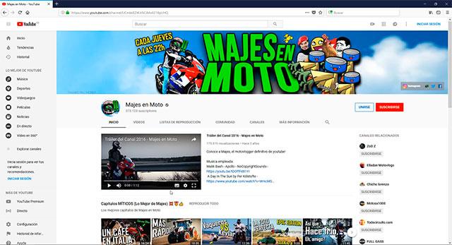 Canal en YouTube de Majes en Moto