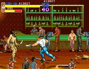 Cody durante un combate en Final Fight usando una navaja