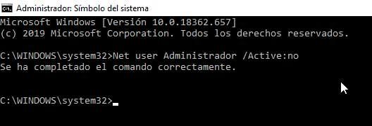 Volver a ocultar la cuenta Administrador en Windows 10