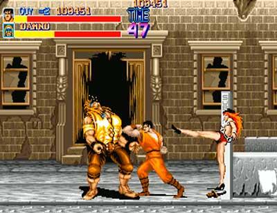 Guy durante una escena de lucha contra uno de los jefes finales