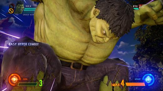 Hulk realizando una serie de combos especiales