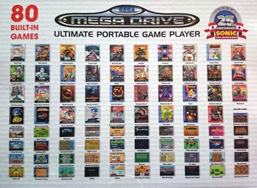Listado de juegos incluídos en la Consola Retro Mega Drive Ultimate Portátil.