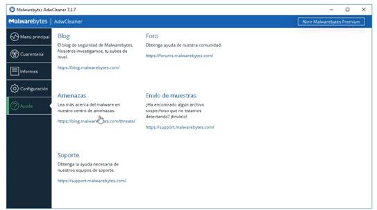Menú de Ayuda en Malwarebytes AdwCleaner.