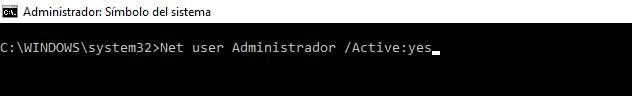 Ahora desde la misma escribe: Net user Administrador /active:yes