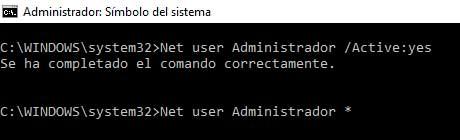 Para ello desde la misma pantalla donde estamos, escribimos: Net user Administrador *