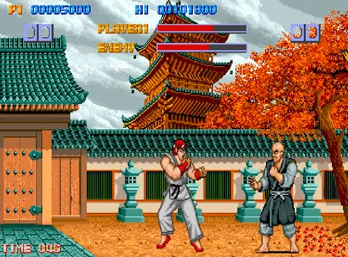 Ryu dutante un combate en Street Fighter 1